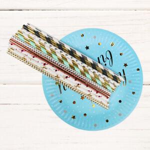 GI-25Pcs-Striped-Paper-Drinking-Straws-Disposable-Straw-Xmas-Party-Decor-DIY