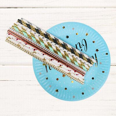 25Pcs Striped Paper Drinking Straws Disposable Straw Xmas Party Decor DIY