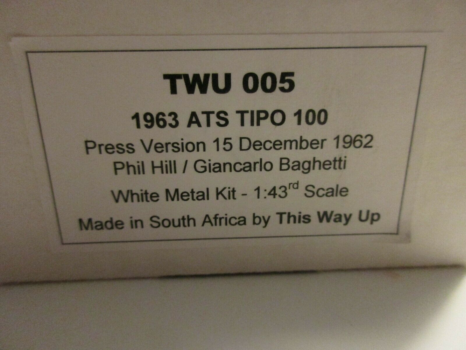 Two to arriba 1   43 ATS 100 1963 Printing Hill baghetti twu005