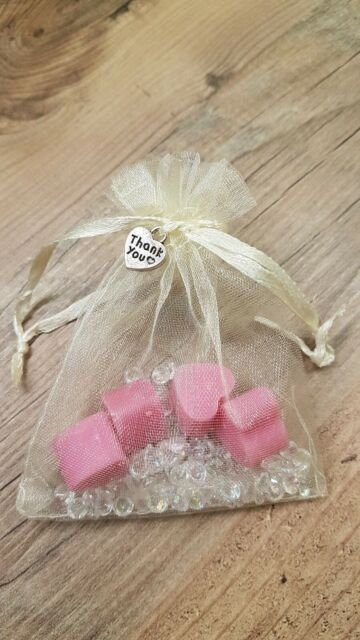 Ready Made Wedding Favours Rose Lavender scented Pink heart Wax Melts in organza