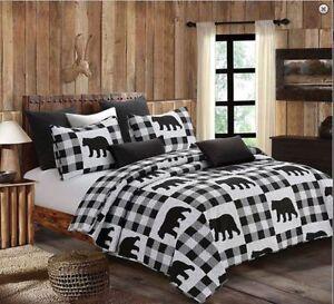 Country-Lodge-Black-Bear-Printed-Quilt-Set-Farmhouse-Primitive-Woods-Cabin