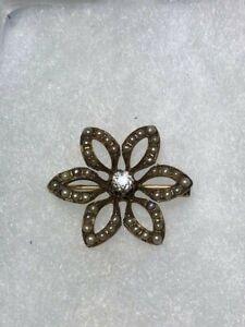 14K-Rose-Gold-Antique-Mine-Cut-Diamond-Seed-Pearl-Flower-Pin