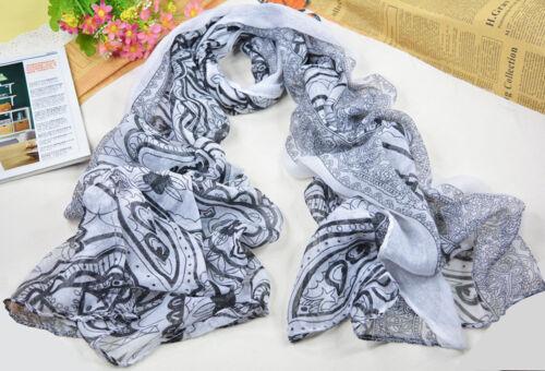Women/'s Fashion White /& Black Long Cotton-blend Voile Scarf Shawl Wrap