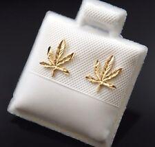 14k Gold Marijuana Leaf Plant Earrings Post Weed Mary J Oro Real Aretes Cannabis