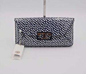 7fbbdfa7d1d0 NWT Tory Burch Gigi Blue White Polka Dot Patent Leather Clutch Bag ...