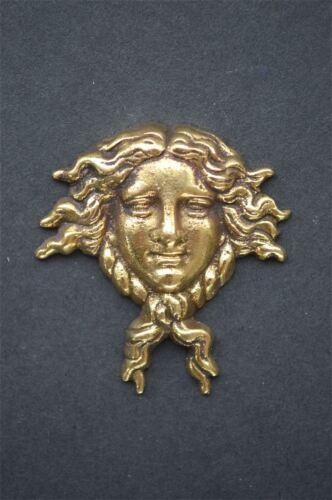 Pequeño Art Nouveau Dama cabeza Muebles de latón macizo Monte ormalu H6