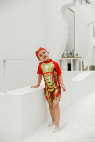 Cartoon superhero children/'s swimsuit Boy Siamese Swimsuit
