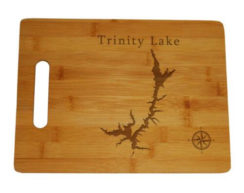 Trinity Lake Clair Engle Map Engraved Bamboo Cutting Board California