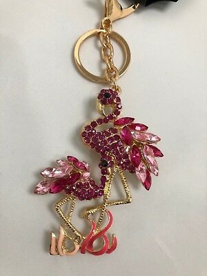 Gorgeous Pink Flamingo Diamante Keyring Rhinestone bag Charm bling gold NEW