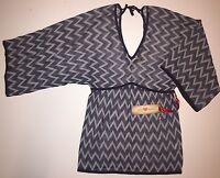 Love Token Navy Top Sweater Zig Zag Knit Hippie Blouse Lt43-03 Medium M