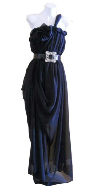 VINTAGE HARAH DESIGNS BLACK  CHIFFON FULL LENGTH ONE SHOULDER