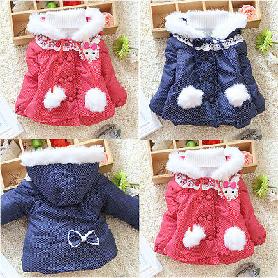 Spotted Baby Snowsuit for 1-4 Year Kids Girls Hoodie Coat Outwear Jacket Clothes