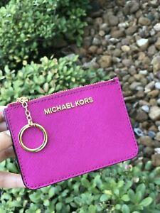 Details zu Nwt Michael Kors Münzbeutel Id Portemonnaie mit Schlüsselanhänger Halter Fuchsie