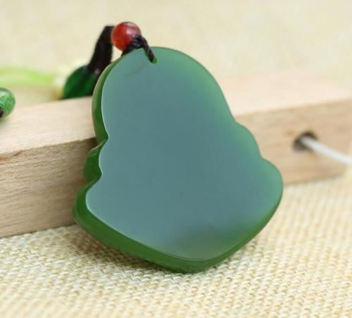 Fine Natural hand-carved black green jade buddha Lucky Amulet pendant necklace
