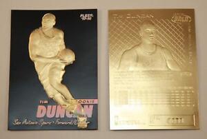 TIM-DUNCAN-1997-98-Fleer-ROOKIE-23KT-Gold-Card-NM-MT-Serial-Numbered-BLACK-GOLD