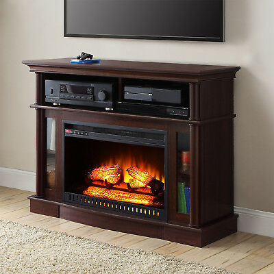 """TV Stand Media Electric Fireplace Entertainment Console 45"""" Heater Storage Wood"""