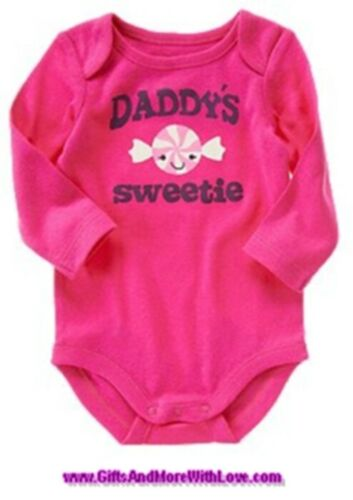 Crazy 8 NWT Raspberry Pink DADDY/'S SWEETIE CANDY  LS DRESS BODYSUIT TOP 0 3 M