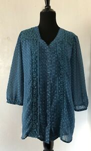 Krazy-Kat-Womens-Top-Teal-3-4-sleeve-Floral-Embroidered-Button-Up-Blouse-Size-M