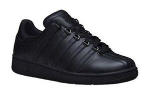 K Trainers 001 03343 Upper Swiss 7 Plain Uk Black Vn m Size Leather qx8zO80Ew