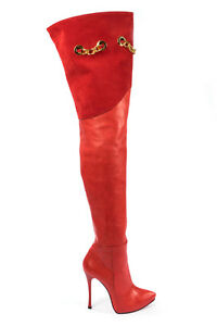 MORI-ITALY-OVERKNEE-PLATFORM-HEELS-BOOTS-STIEFEL-STIVALI-LEATHER-RED-ROSSO-44
