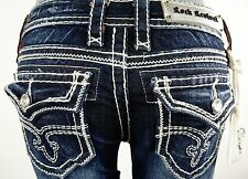 "$180 Rock Revival Womens Jean ""Shelly"" Swarovski Crystal Boot Cut 27 X 30.5"