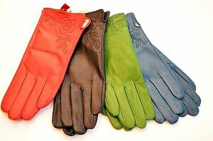 New-Ladies-Lined-Soft-Leather-Gloves-Rose-Black-Blue-Green-Pink-PurpleBrown-Red