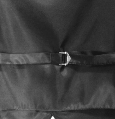 New formal men/'s tuxedo vest waistcoat /& necktie horizontal stripes prom black