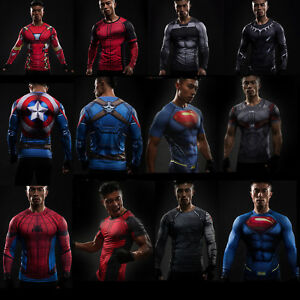 Superhero-Marvel-DC-T-Shirt-Training-Tee-Jersey-Top-Sport-Gym-Men-Costume-Pro