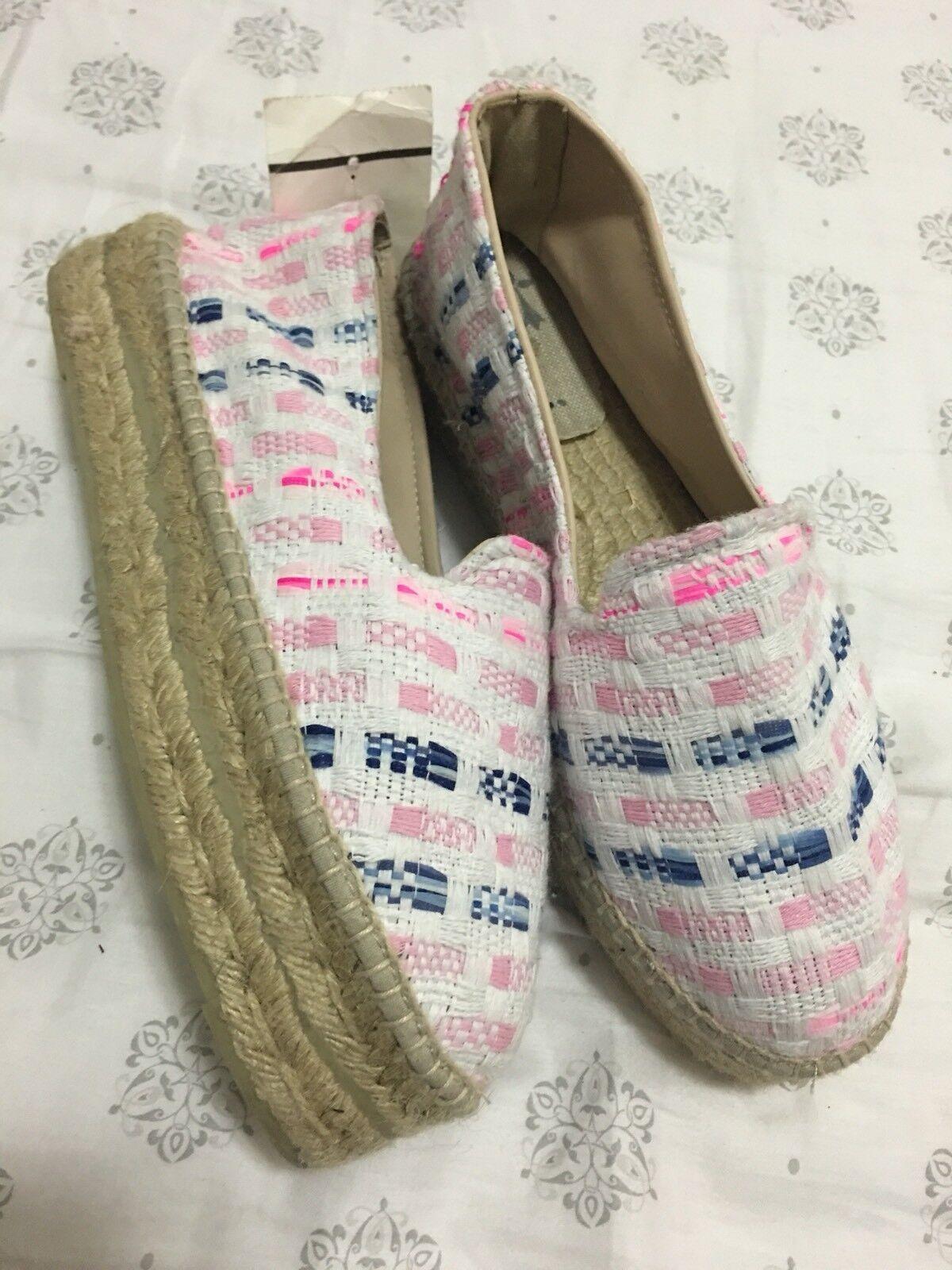 New Manebi  150 White Pink Navy Woven Tweed Platform Slip On Espadrilles Size 39