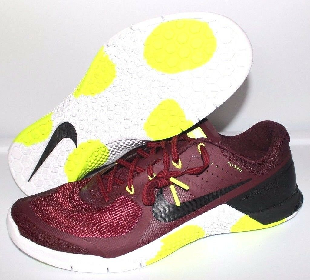 Nike Metcon 2 AMP Crossfit Trainers Training Men's Size 15 Burgundy Volt Black