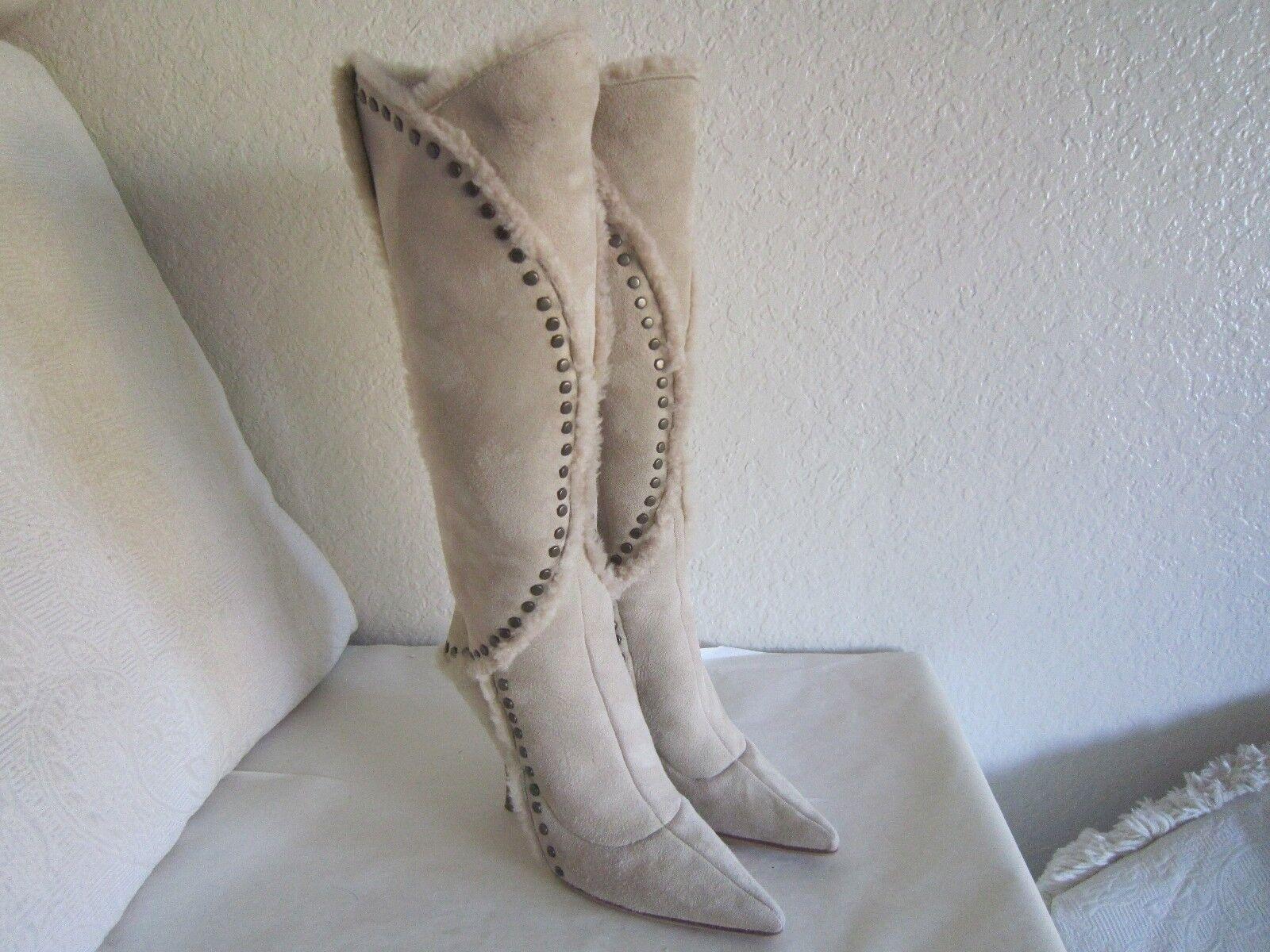 Jimmy Choo Beige Suede Shearling Studded High Heel Knee Stiefel Sz 37.5 Us 7
