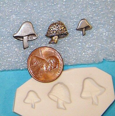 3 Differnt Shapes and Sizes Mushrooms Polymer Clay Push Mold DIY Jewelry