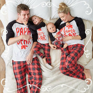 79bb495ddb66 US Family Matching Christmas Pajamas Set Women Baby Kids Sleepwear ...