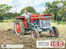 Massey Ferguson 165 traktor Rot Bauer pflügen feld Mittleres Metall/Zinn-zeichen