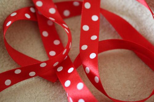LOVELY Postbox RED Berisfords Satin Polka Dot Large Spot Ribbon 15mm 12251 #15
