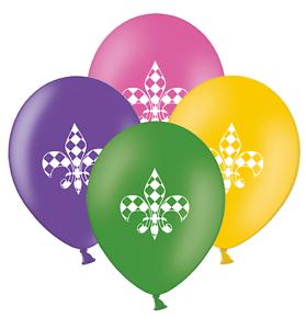 Mardi-Gras-Fleur-de-Lis-Mix-4-Assorted-Printed-12-034-Latex-Balloons-pack-of-6