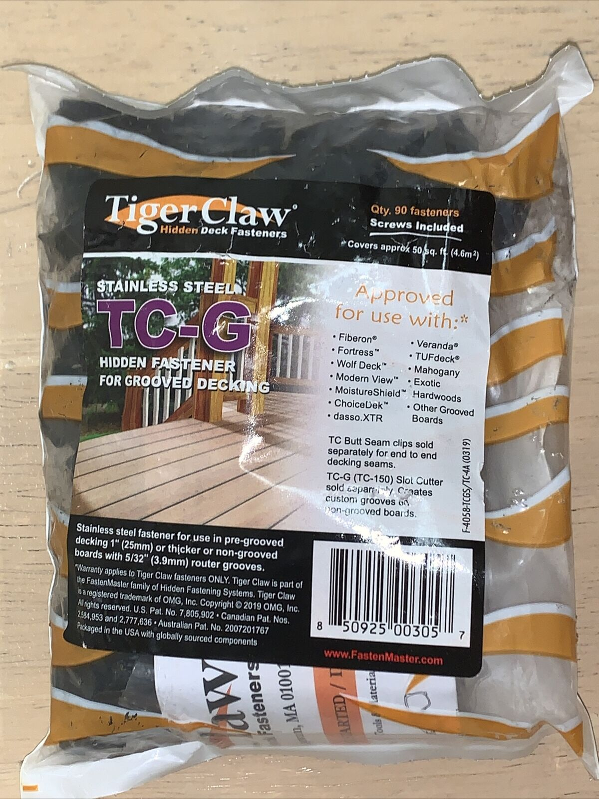 TC-3 Tiger Claw Stainless Steel Hidden Deck Fasteners TREX,Composite New 100 PK