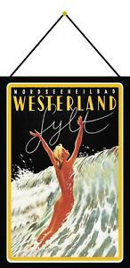 Westerland-Sylt-Tin-Sign-Shield-with-Cord-Metal-7-7-8x11-13-16in-F0253-K