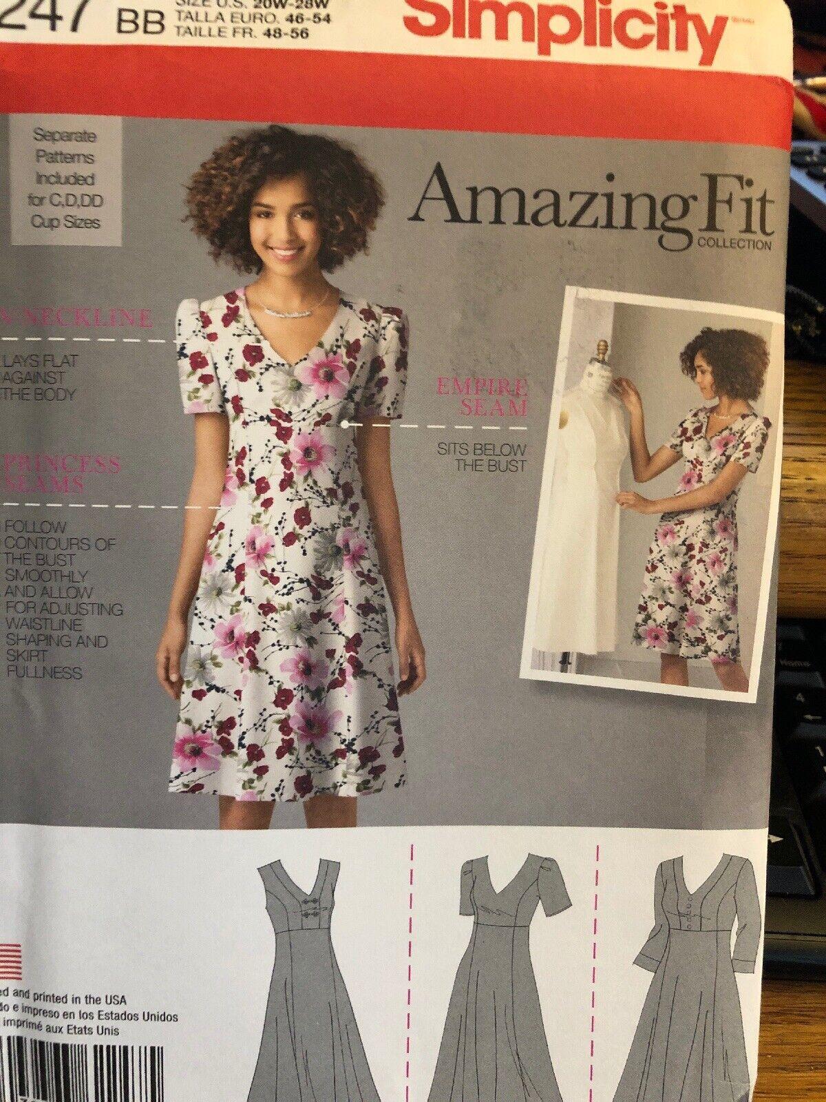 Patr/ón de Costura para Vestidos de Mujer Simplicity 2247 Tallas 38-46
