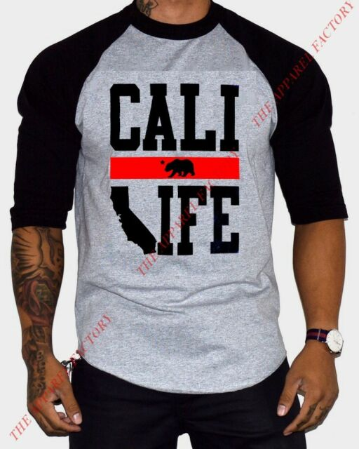 Men's Cali Life Gray/Black Raglan Baseball T Shirt Tee weed kush California dope