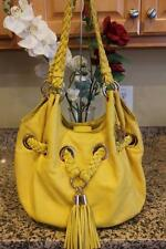 Michael Kors Yellow Leather BRAIDED  Tassel Drawstring Hobo Bag (PU700