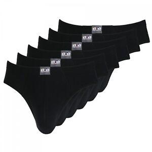 Herren Slips schwarz 6er Vorteilspack Unterhosen 100% Baumwolle Größe M L XL XXL