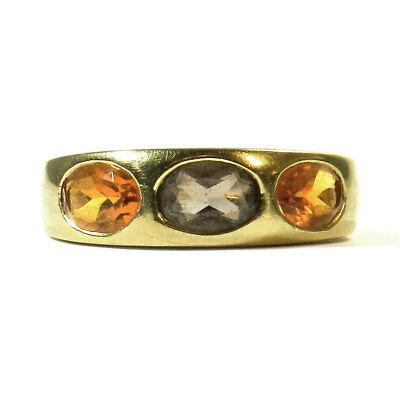 Klassischer 585 Gold Ring mit Citrinen & Rauchquarz Bandring