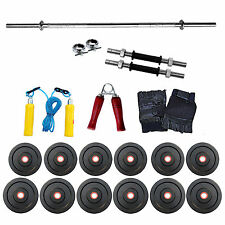 Fitfly Home Gym Set 32Kg Weight 5Ft Plain 3Ft Curl Rod With All Gym Accessories