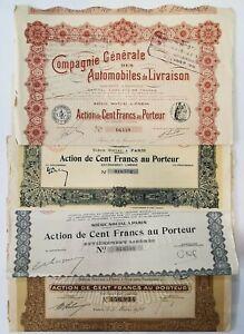 Lot 5 Différents Actions De Cent Francs Au Porteur. AD2045