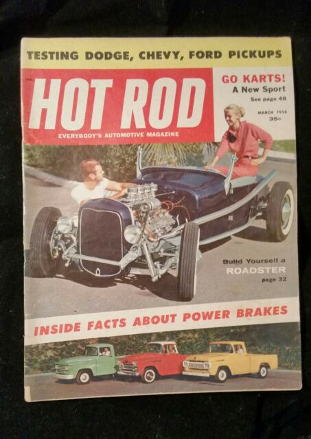 Vintage Hot Rod Magazine March 1958 roadster brakes how to dodge ford chevy