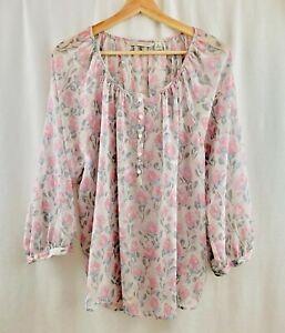 LC-Lauren-Conrad-Blouse-Top-Floral-Button-Rose-Pink-Size-XL