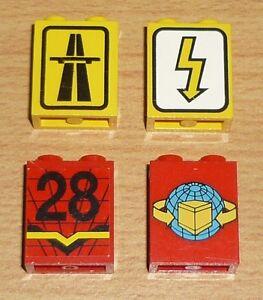 Lego City 4 verschiedene Paneelen 1 x 2 x 2 mit Aufdruck