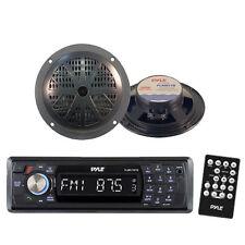 Indash Marine SD USB AM/FM Radio Receiver & Wireless Bluetooth /2 Black Speakers