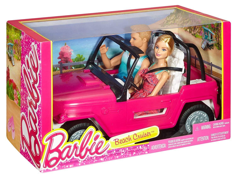 Mattel CJD12 Barbie - MUñeca Barbie y Muñeco Ken en su Coche de Playa